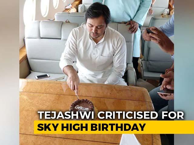 Video : Tejashwi Yadav Cuts Birthday Cake On Chartered Flight, Trolled