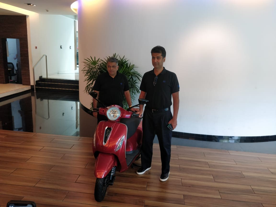 Rajiv Bajaj CEO Bajaj Auto & Eric Vaz President Motorcycle Business, Bajaj Auto with the electric Chetak