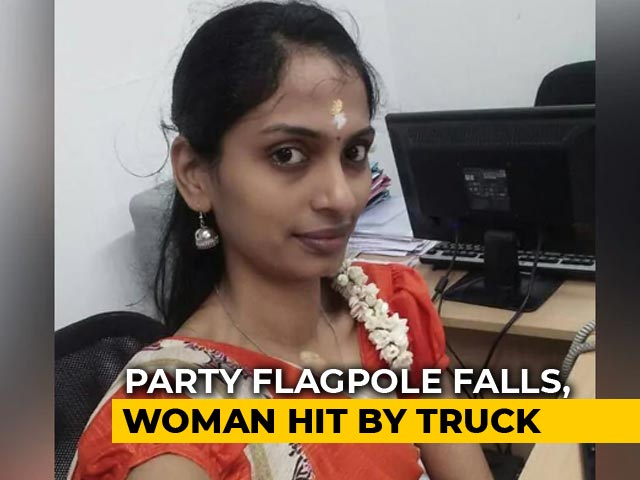 Video : Tamil Nadu Woman, 30, Hit By Truck While Trying To Avoid AIADMK Flagpole