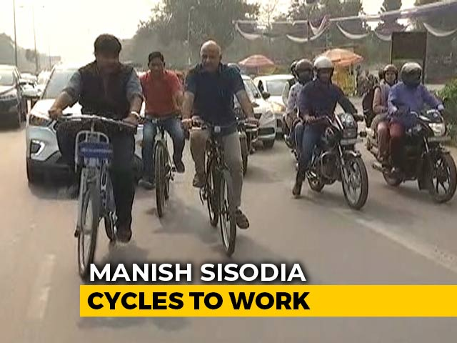 Video: 'Think Of Our Kids...': Manish Sisodia Cycles To Work As 'Odd-Even' Starts