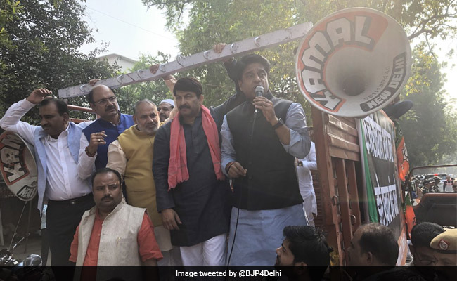 BJP Protests Outside Aam Aadmi Party Office In Delhi Over Rafale Claims