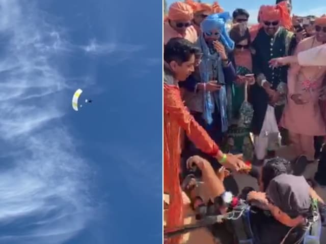 Video : Watch: Groom Skydives To His Wedding As Guests Cheer