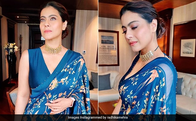 Like Kajol Spread Some Floral Love In A Stunning Blue Saree