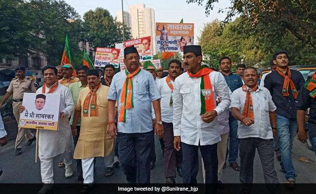 BJP Protests In Mumbai Against Rahul Gandhi's Savarkar Remark