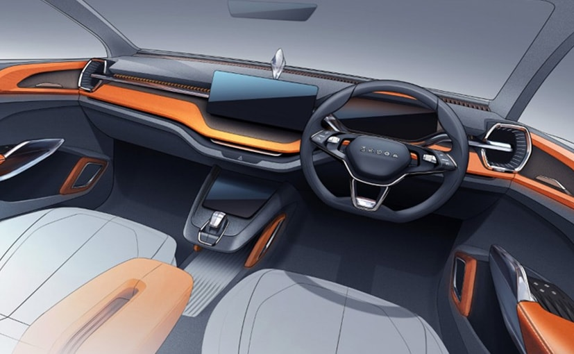 The interior sketch gives us the first glimpse of Skoda's new compact SUV for the Indian market
