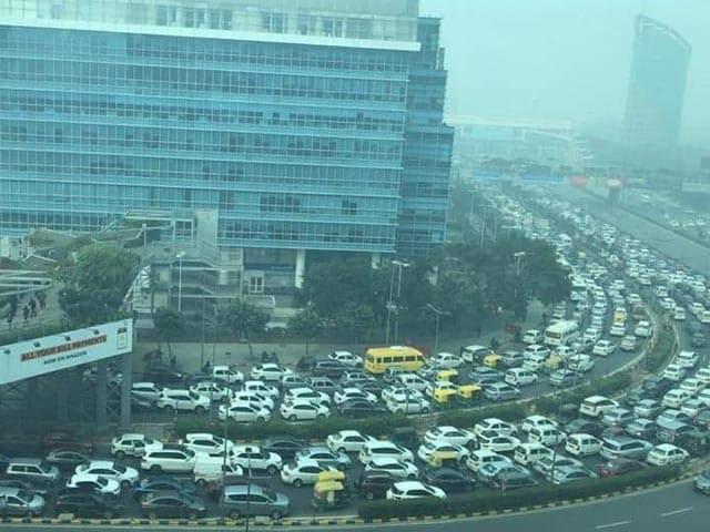 Video: Bird's-Eye View Of Massive Traffic Jam Near Delhi-Gurgaon Border