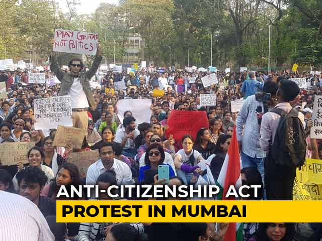 Video : Hundreds Protest Against Citizenship Act In Mumbai's August Kranti Maidan