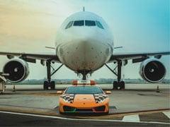 A Lamborghini Huracan RWD Escorts Aircrafts To Their Parking Bay In Bologna