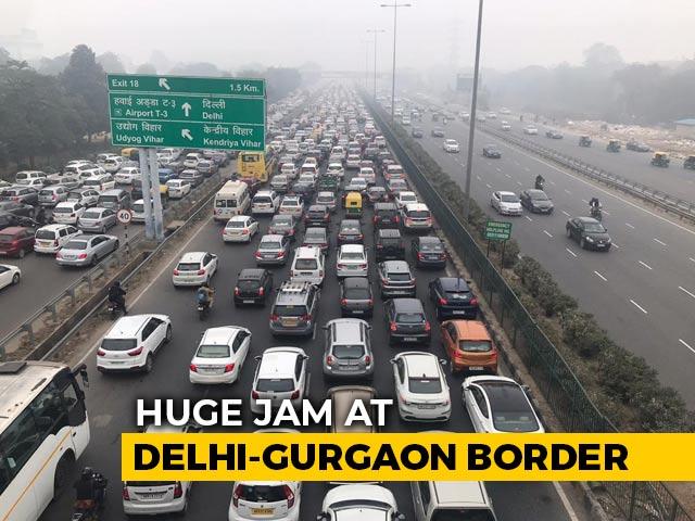 Video : Huge Jam At Delhi-Gurgaon Border, Traffic Curbs Amid Protests