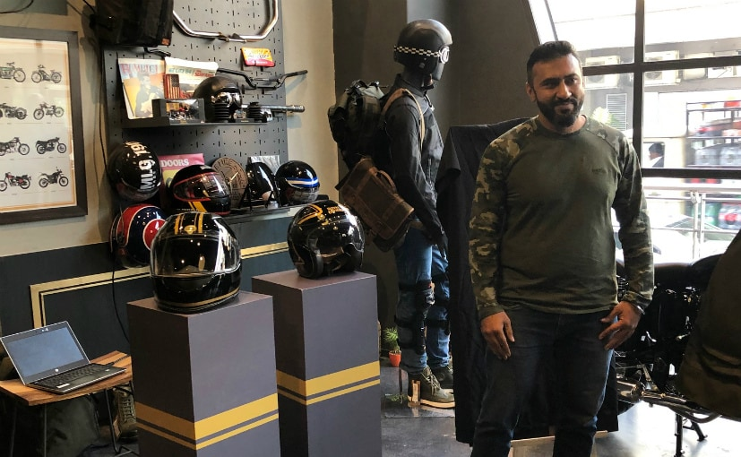 Puneet Sood, Head, Apparel and Accessories, Royal Enfield, at the unveiling of the helmets