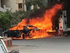 Skoda Superb Bursts Into Flames At Petrol Pump In Hyderabad