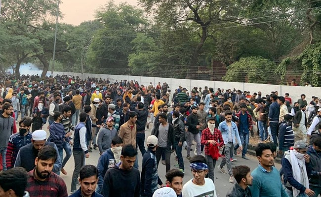 Jamia students taking out a peaceful protest march