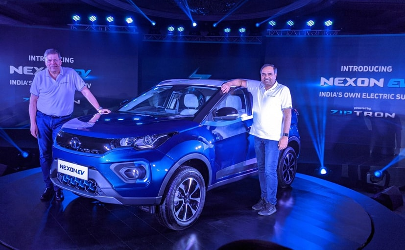 Guenter Butschek, MD & CEO- Tata Motors at the Tata Nexon EV launch.