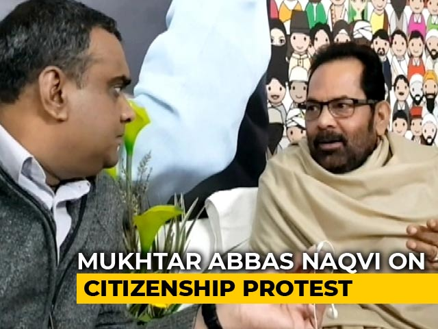 "Video : ""Condemn Any Form Of Violence"": Mukhtar Abbas Naqvi On Citizenship Law Protests"