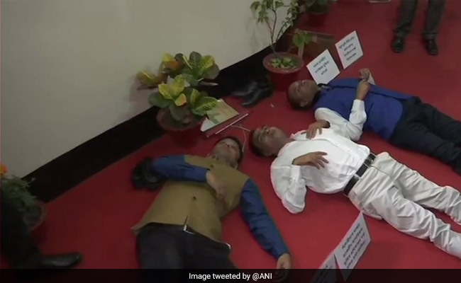 Assam Congress MLAs Lay On Ground Inside Assembly To Protest Land Policy