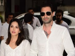 Sunny Leone And Daniel Weber Attend Dabboo Ratnani's Mother Prabha Ratnani's Prayer Meet