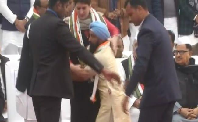 Man Breaks Security To Meet Priyanka Gandhi In UP. Watch Her Reaction