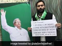 """I'm Hindu, I'm Indian"": Tejashwi Yadav's Poster Before Joining Citizenship Act Protest"
