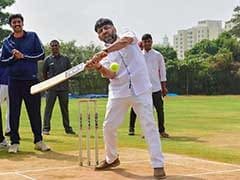 Congress' DK Shivakumar Plays Cricket With Journalists In Bengaluru