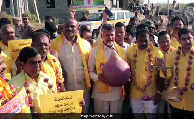 Onion Garlands, Weighing Scale: Chandrababu Naidu's Unique Protest Amid Rising Prices