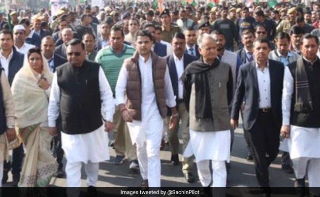 Ashok Gehlot, Sachin Pilot Lead Jaipur March Against Centre's Policies