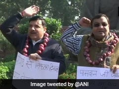 AAP Leader Wears Garland Of Onion To Protest Against Shortage, Price Rise