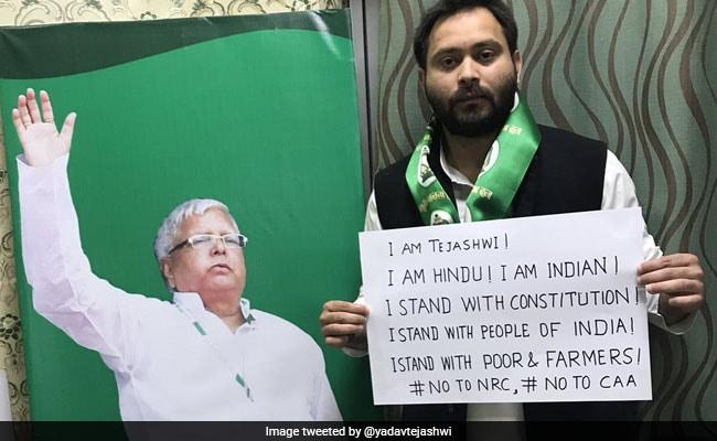 'I'm Hindu, I'm Indian': Tejashwi Yadav's Poster Before Joining Citizenship Act Protest