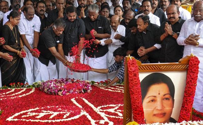 AIADMK Leaders Pay Tributes At Jayalalithaa Memorial
