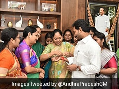 Women Leaders Of YSR Congress Tie Rakhi To Jagan Reddy For Anti-Rape Law