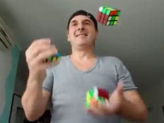 Man Solves 3 Rubik's Cubes While Juggling Them. 7 Million Views For Video