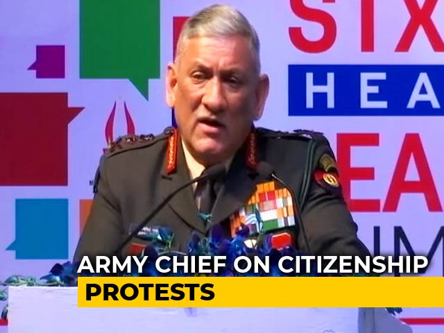 "Video : ""Leaders Not Those Who Lead Masses In Arson"": Army Chief On Citizenship Protests"