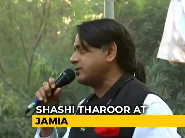 "Video : ""We're With You"": Shashi Tharoor Visits Jamia, Shaheen Bagh, JNU In Delhi"
