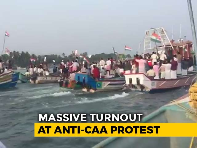 Video : Watch: Hundreds Travel By Sea In Mangaluru To Protest Citizenship Law