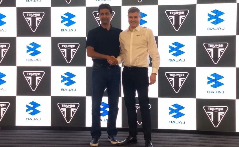 Rajiv Bajaj, MD- Bajaj Auto and Nick Bloor, CEO- Triumph Motorcycles at the announcement.
