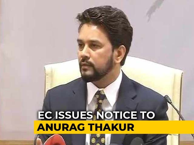 "Video : Anurag Thakur Gets Poll Body Notice Over ""Goli Maaro"" Slogans At Rally"