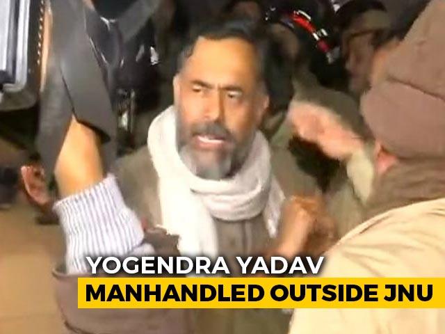 Video : Yogendra Yadav Manhandled Outside JNU As Masked Men Rampage On Campus