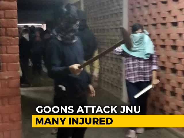 Video : Shocking Video Shows Assailants Attacking JNU Students With Iron Rods