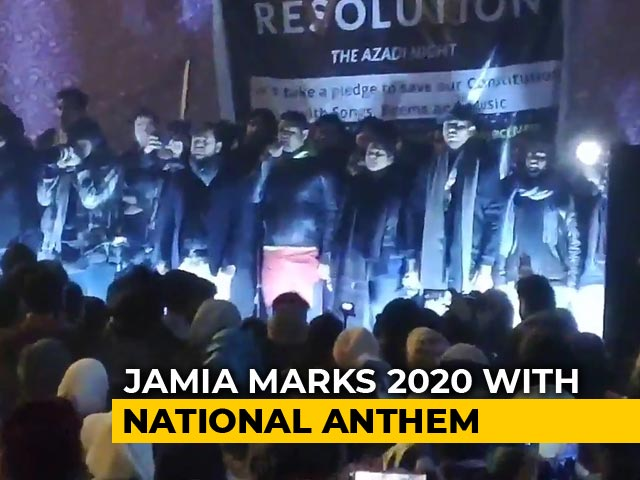 Video : Jamia Students Ring in 2020 with National Anthem