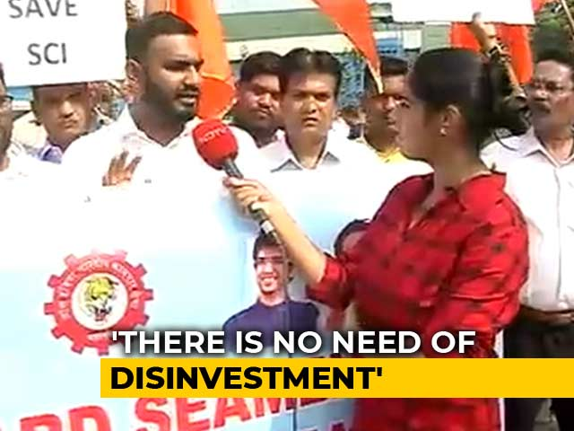 Video : Navratna PSU Companies Protest Against Disinvestment In Mumbai