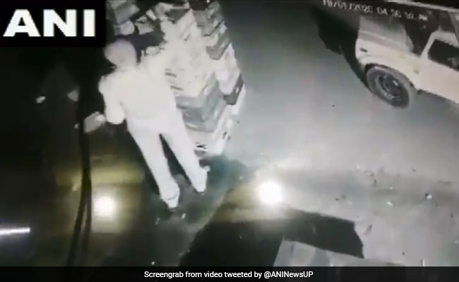 UP Cop Caught On CCTV Stealing Milk Packets