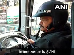For Protection, Bus Driver Wears Helmet Amid Strike In Bengal
