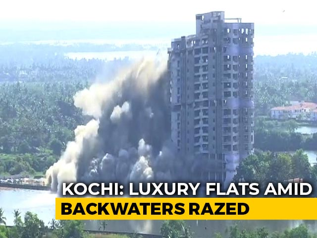 Video : Watch: Luxury Flats Amid Backwaters Razed With Explosives In Kochi