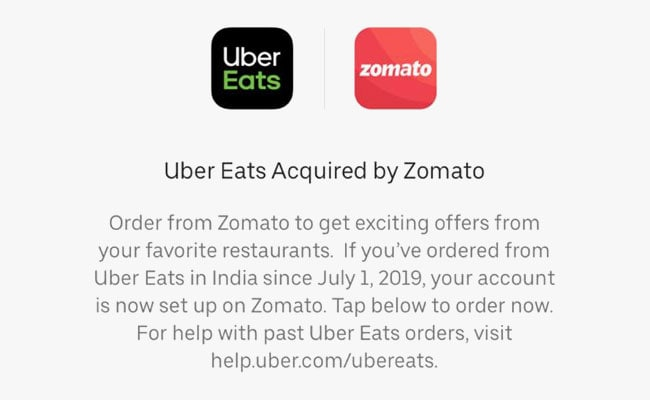 Zomato Buys Uber's Food Delivery Business Uber Eats In India For $350 Million