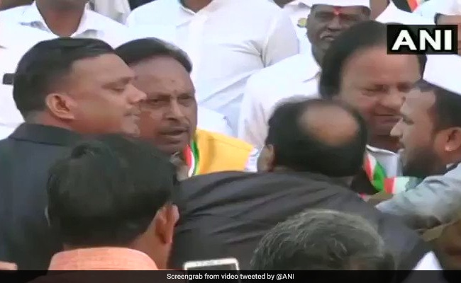 On Camera, Madhya Pradesh Congress Leaders Fight At Republic Day Event