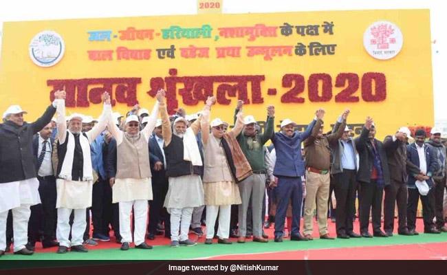 Over 5 Crore In Bihar Join Nitish Kumar's Human Chain For Environment
