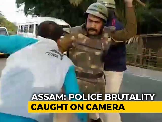 Video : On Camera, Assam Cops Thrash Citizenship Law Protesters As Chief Minister's Convoy Passes