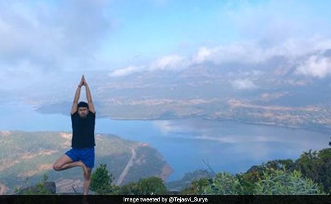 BJP MP Tejasvi Surya Performs Yoga At Spectacular Location. See Pics