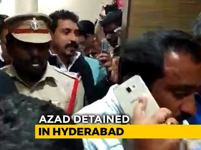 "Video : ""Being Sent To Delhi"": Bhim Army Chief Detained In Hyderabad"