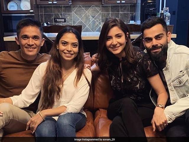 """All Kinds Of Wonderful"": Sunil Chhetri, Wife Sonam Host Virat Kohli, Anushka Sharma For Dinner"