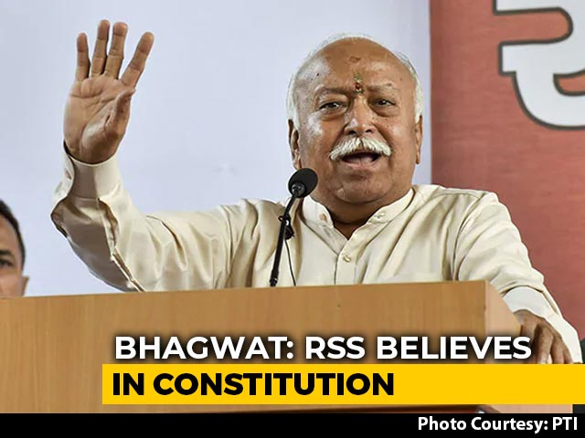 Video : RSS Chief Says Don't Want Any Power Centre Other Than Constitution